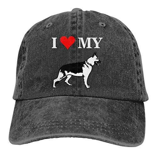 cvbnch Cowboy-Hut Sonnenkappen Sport Hut I Love My German Shepherd Dog Rescue Men's Women's Adjustable Baseball Hat Denim Fabric Sun Hat Sports Cool Youth Golf Ball Unisex Hiking Cowboy hat hip hop