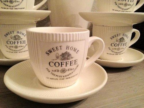 """**  6 Stück Kaffe Becher /""""Landhaus/""""  ** Pott Teetasse Kaffeetasse Shabby creme"""