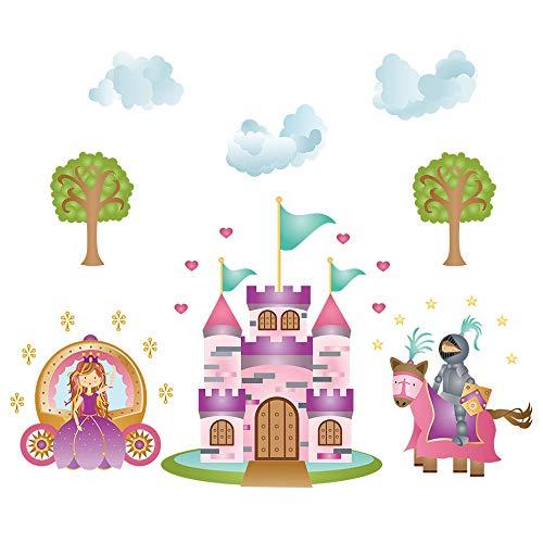 decalmile Wandtattoo Prinzessin und Ritter Wandsticker Schloss Kinderzimmer Mädchen Wandaufkleber Babyzimmer Mädche Schlafzimmer Wanddeko (Wandtattoo Prinzessin Schloss)