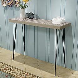 Mueble de Consola Mesa Materia de MDF + Acero para Salón Habitación 90 x 30 x 71,5 cm Color Gris
