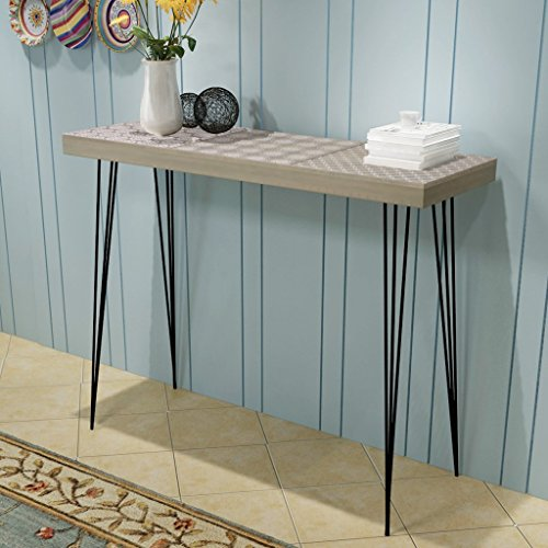 Festnight Retro Console Table Side Cabinet Dressing Table Living Room Hallway Furniture Grey