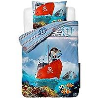Aminata Kids – Bettwäsche 135x200 cm Kinder Jungen Pirat Baumwolle Reißverschluss Blau Rot Weiß Seeräuber Piratenschiff Fische Delfine Papagei Meer Fotodruck Kinderbettwäsche Bettbezug Wendebettwäsche