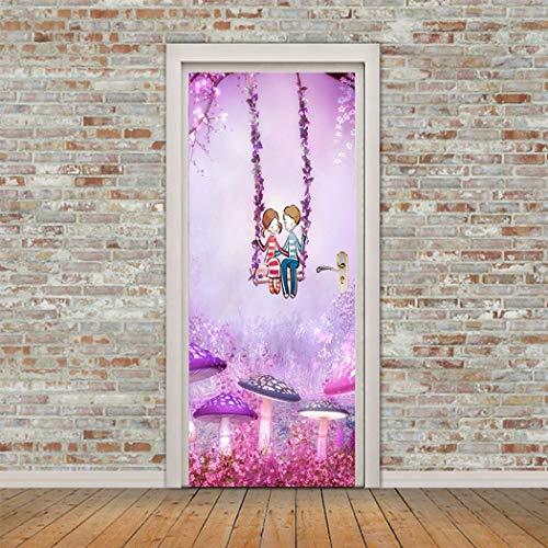 3D-Renoviert Tür Aufkleber Cartoon Paar Auf Swing Selbstklebende Klappe Aufkleber Sticker Kinder Tür Aufkleber Aus Qt XINGMU