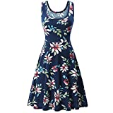 VEMOW Sommer Elegante Damen Frauen Sleeveless Rundhalsausschnitt Druck Sommer Strand Midi Eine Linie Casual Dress Floral Casual Täglichen Party Tank Kleid(Dunkelblau 2, EU-42/CN-L)