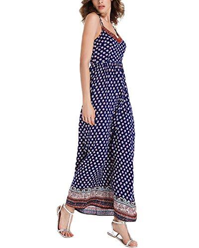 StyleDome Damen V-Ausschnitt Ärmellose Rückenfrei Hälken Dünne Lange Maxi Strandkleid Blau
