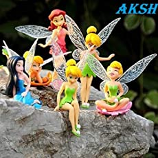 AKSH Kid's6 Pcs Fairy Princess Doll Action Figures for Girls (Multicolour)