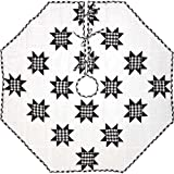 "VHC Brands Tree Skirt, Cotton, Black Bright White, 48"" Diameter"