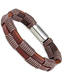 555a4cfaaac2 Urban Jewelry - Pulsera de piel auténtica para hombre con cierre magnético  de acero inoxidable de