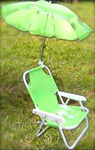 Children's Parasol Chair - Kids Deckchair & Parasol set GREEN - Beach chair