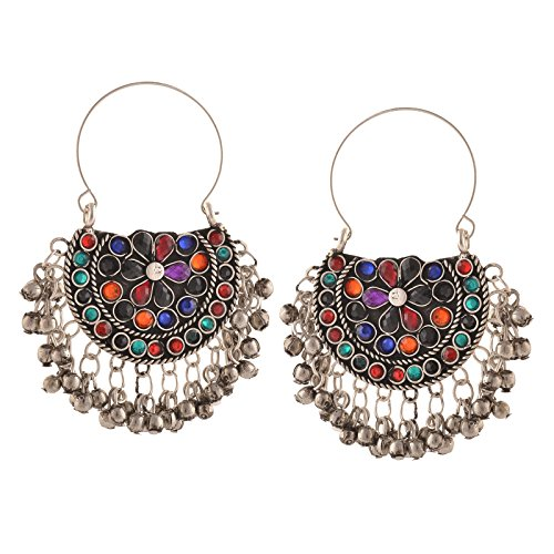 Zephyrr Fashion Oxidized Silver Afghani Tribal Chandbali Hoop Earrings For Women
