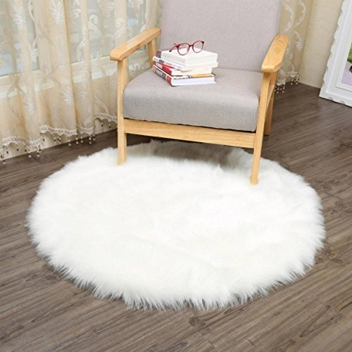 Faux Fur Sheepskin Style Rug (30 x 30 cm) Faux Fleece Chair Cover Seat Pad Soft Fluffy Shaggy Area Rugs For Bedroom Sofa Floor (Round white)