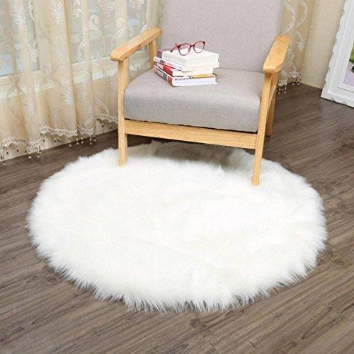 Foto de HLZDH oveja de piel sintética Felpudo alfombra Antideslizante Lujosa Suave Lana artificial Alfombra para salón dormitorio baño sofá silla cojín (60 X 60 CM, Ronda blanca)