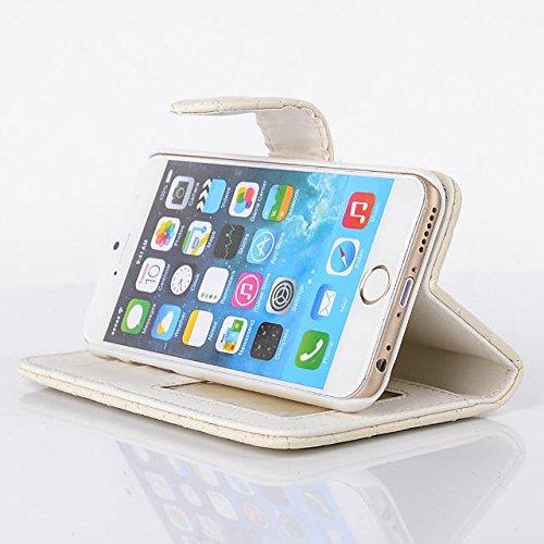 """inShang Hülle für Apple iPhone 6 Plus iPhone 6S Plus 5.5 inch iPhone 6+ iPhone 6S+ iPhone6 5.5"""", Cover Mit Modisch Klickschnalle + Errichten-in der Tasche + GRID PATTERN, Edles PU Leder Tasche Skins E rhombus grid gold"""