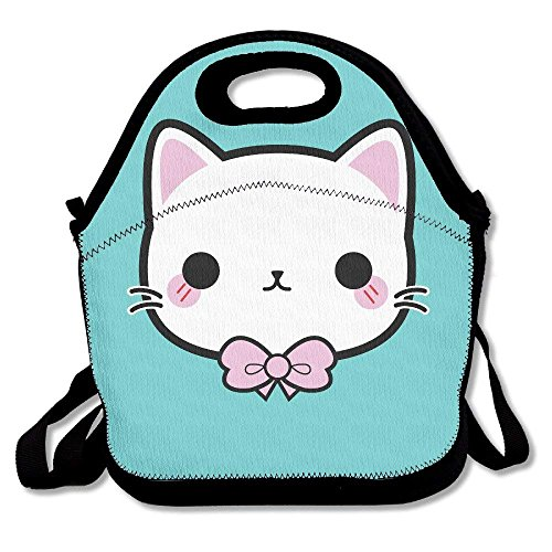 Kitty Cute Illustration Insulated Lunch Bag - Neoprene Lunch Bag - Large Reusable Lunch Tote Bags for Women, Teens, Girls, Kids, Baby, Adults Portable Carry Hop-pink Camo
