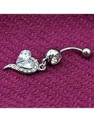 VANKER 2x Rhinestone del corazón Haltera vientre del ombligo barra de botones suena la joyería Piercing del cuerpo--Blanco