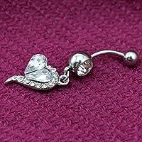 VANKER 2X Rhinestone del corazón Haltera Vientre del Ombligo Barra de Botones Suena la joyería Piercing del Cuerpo-Blanco