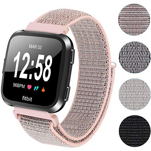 Ruentech Ersatz-Armband für Fitbit Versa, gewebtes Nylonband, atmungsaktives, verstellbares Uhrenarmband für GPS-Smartwatch Fitbit Versa, rose