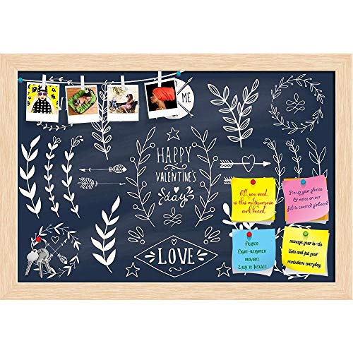 Love Artwork D20 Printed Bulletin Board Notice Pin Board | Natural Brown Frame 23.5 X 16Inch ()