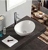 Cuarto de baño encimera lavabo de cerámica OVAL + residuos