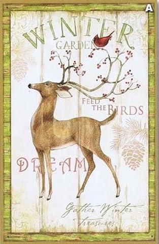 Winter Garden Rehe und Kardinal 100% Baumwolle Print Quilting Stoff Panel (Cardinale Giardino)