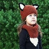 MS.REIA Kinder Niedlichen Fox Hut Schal Set Kinder Winter Warme Hüte Handgemachte Häkelarbeit Cap Kapuzenschal Beanie Für Jungen Mädchen Rot