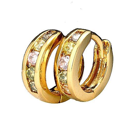 Gemini Ohrstecker (Gelb Gold), attraktive Glitzer & Strass Elemente mit Kristall Steinen, Luxus Design, Rundform, für jeden Anlass, beliebt bei Girls & Damen, 1,37 cm Durchmesser