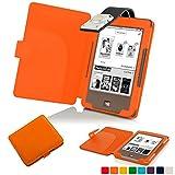 Forefront Cases® Tolino Page Shell Hülle Schutzhülle Tasche Bumper Folio Smart Case Cover Stand mit LED Licht - Leicht mit Rundum-Geräteschutz (ORANGE)