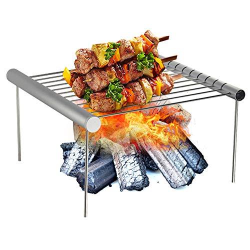 Vlook Tragbare Edelstahl Grill, abnehmbare grillständer, stabil und stark, hitzebeständig, einfach zu bedienen, für Camping picknicks