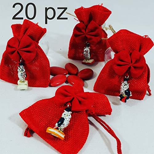 20 Sacchetti Laurea portaconfetti con Gufo e Confetti Prezzi Stock e  deliziosi Confetti Rossi al Cioccolato ab7de55c167c