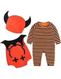 Preisvergleich für Riou Kinder Langarm Halloween Kostüm Top Set Baby Kleidung Set Säuglingsbaby-Mädchen-Kürbis-Spielanzug-Weste-Halloween-Ausstattungs-Kostüm...