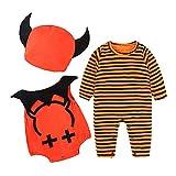 Riou Kinder Langarm Halloween Kostüm Top Set Baby Kleidung Set Säuglingsbaby-Mädchen-Kürbis-Spielanzug-Weste-Halloween-Ausstattungs-Kostüm 3Pcs Eingestellt (70, Schwarz)