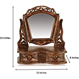 D'Core Crafts Gift Item Wooden Hand Carved Mini Dressing Mirror Cabinet With 2 Drawers (13 X 6 X 15 Inches)