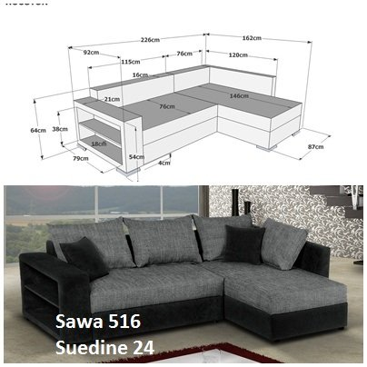 Sofa Couch Ecksofa Houston Schlaffunktion Schlafsofa schwarz/grau Eckcouch - 3
