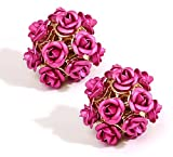 YouBella Jewellery Pink Rose Shape Two S...