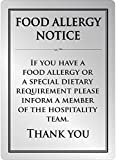 Food Allergy Sign Silver A5 Brushed Steel Self Adhesive Safety 210x148mm