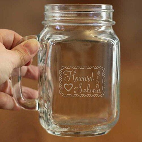 Custom 16Oz Mason Jar Tasse, personalisierbar, Tasse, Bier Glas, bachelor Party Geschenk personalisierte eine Hochzeit Jahrestag Geschenk für Braut und Besen