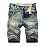 Herren Sommer Kurze Jeans Shorts Männer Denim Kurze Hose Jeanshose Basic Chinos 32