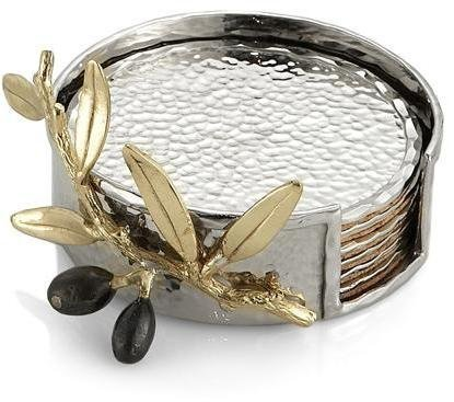 Michael Aram Olive Branch Gold Coaster - Set of 6 by Michael Aram Michael Aram Olive