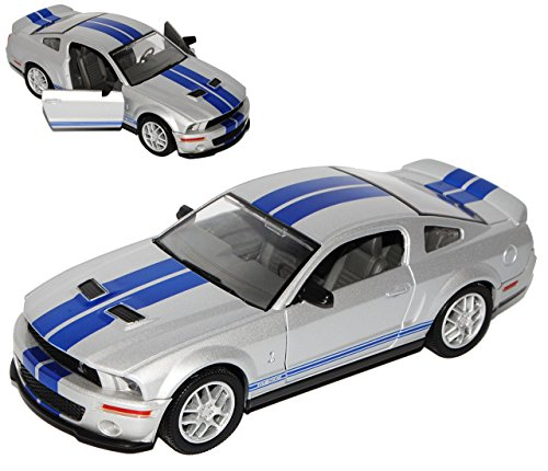 Ford Shelby Mustang Cobra Gt500 GT 500 Ab 2007 Silber Blau Streifen 1/24 Yatming Modellauto Modell Auto (Cobra Ford)