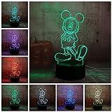 Yangll Cartoon Nette Mickey Mouse 3D LED Nachtlicht Illusion Neuheit Tisch Schreibtischlampe Geburtstag Kind Kinder Wohnkultur