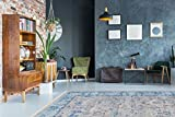 Kayoom ORIENTALISCH LOOK TEPPICHE SHABBY TEPPICH GRAU MODERN DESIGN BLAU, Größe:160cm x 230cm