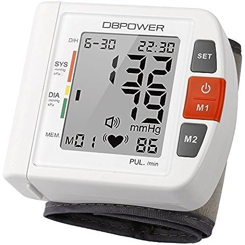 Tensiómetro,Monitor de presión arterial de muñeca de DBPOWER, Alta precisión, 90 memorias, Dos modos de usuario con indicadores BHI y OMS, Certificado por la CE