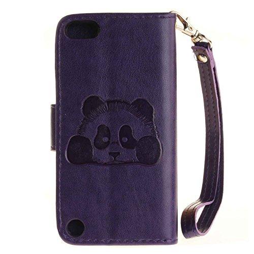 Guran® Custodia in Pelle per Apple iPhone 7 Plus (5.5 pollici) Smartphone avere Carta Slot Supporto Protettiva Flip Case Cover-rosa rossa porpora-Panda