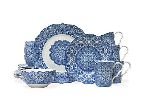Lyria 16 Piece Dinnerware Set in Blue by 222 Fifth - 222 Fifth Dinnerware