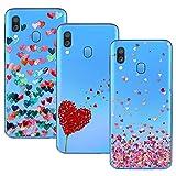 d49151e9222 Young & Ming Compatible para Galaxy A40 Funda, (3 Pack) Transparente  Ultrafina Carcasa Delgado antigolpes Resistente, Amor