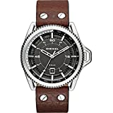 Diesel Men's 46mm Black Leather Band Steel Case Quartz Grey Dial Analog Watch dz1717