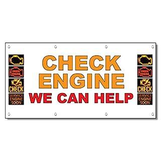 Überprüfen Motor, den wir kann helfen gelb rot Auto Repair Shop Vinyl Banner Schild 3 Ft x 6 Ft