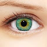 Linsenfinder Farbige Kontaktlinsen Blau '3Tones Turquoise' + Behälter für HELLE Augen ohne und mit Stärke blaue Kontaktlinsen farbig