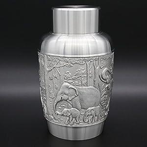 Oriental en étain–Boîte à thé en étain, Caddy–sculpté à la Main Superbe en Relief Pure Tin 97% sans Plomb en étain Faite à la Main en Thaïlande