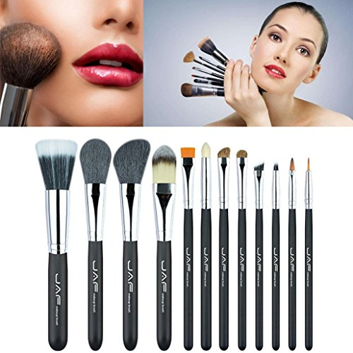 ESAILQ 12Pcs Makeup Brush Kit Wood Professional Cosmetic Set Foundation Brush Powder Brush Eyeshadow Brushes Noir (Noir)